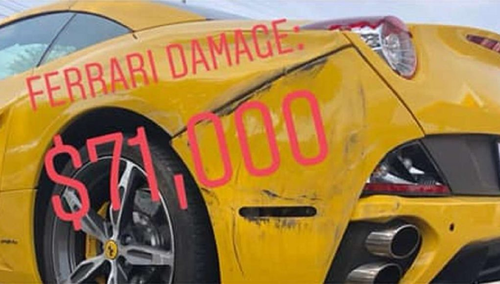 Damaged Ferrari California fender