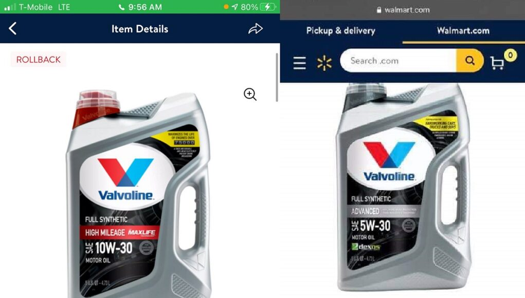 Walmart valvoline synthetic glitch deal
