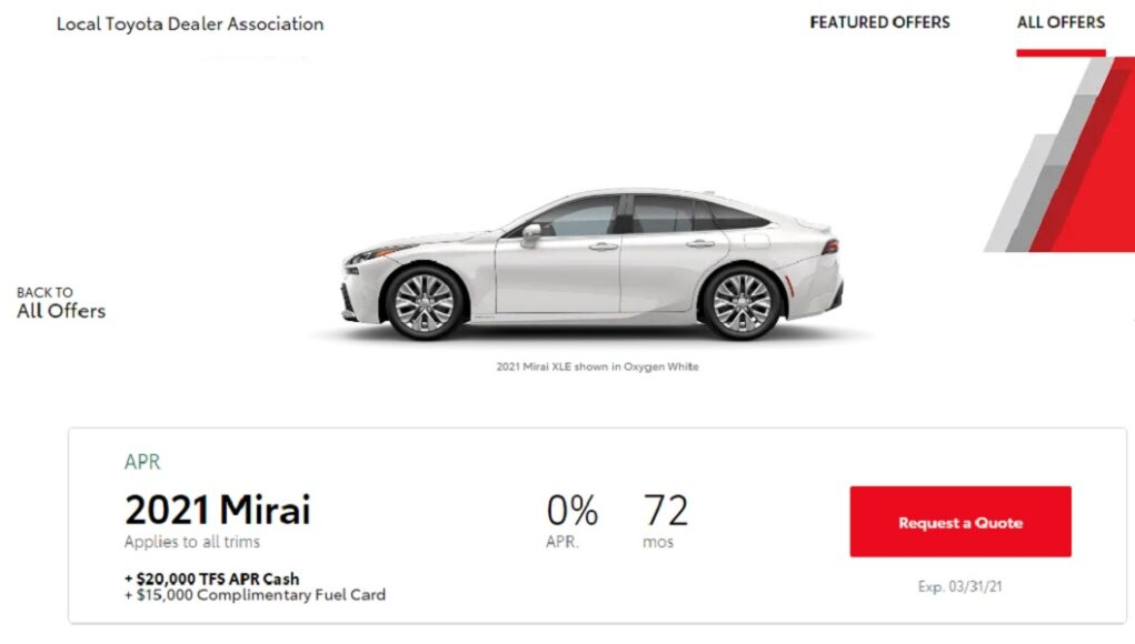 Toyota putting $20,000 on the hood of new Mirais