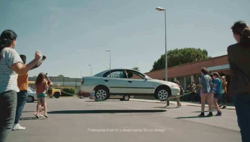 Mystery car jumps rope in Allstate commercial