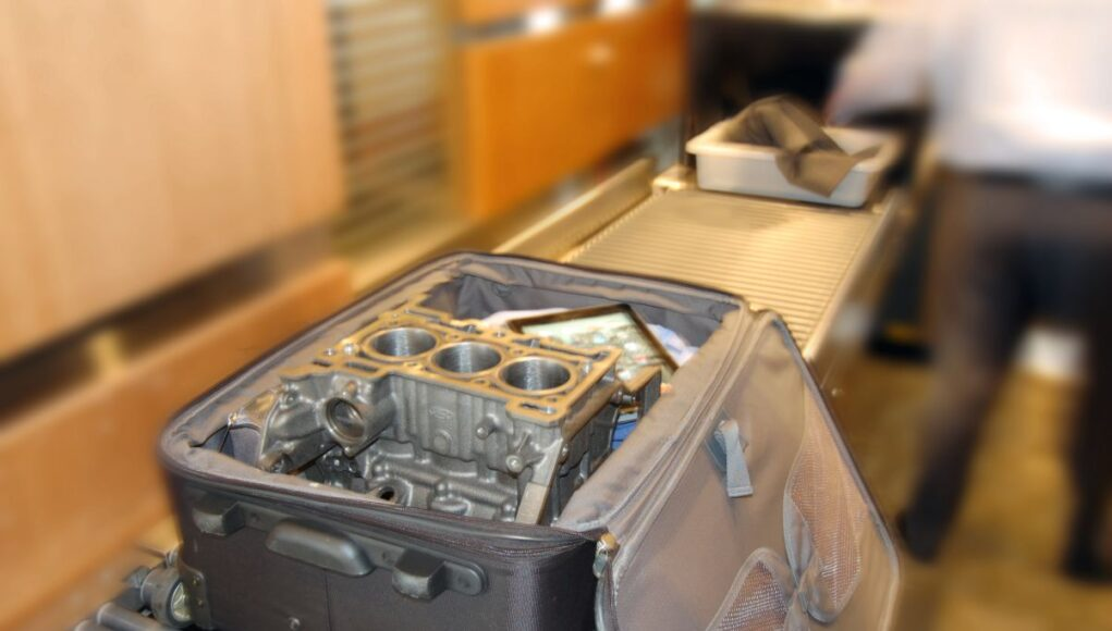 Car parts in carry-on and checked baggage